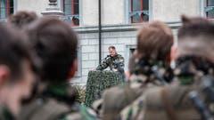 Ansprache von Bataillonskommandant David Thalmann.