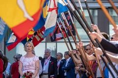 Die offizielle Fahnenübergabe vom OK Biel 2013 an das OK Aarau 2019 fand am Nachmittag statt. (Bild: Urs Flüeler/Keystone)