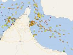 Mutmassliche Position der «Front Altair» (rotes Quadrat) im Golf von Oman. (Bild: www.vesselfinder.com)