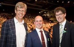 Frauenfelds Stadtpräsident Anders Stokholm mit den beiden ehemaligen Grossratspräsidenten Turi Schallenberg und Gallus Müller an der Partizipanten-Versammlung 2019 in der Bodensee-Arena in Kreuzlingen.