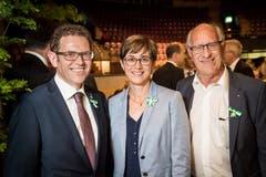Regierungspräsident Jakob Stark, Regierungsrätin Monika Knill und der ehemalige TKB-Chef Theo Prinz an der Partizipanten-Versammlung 2019 in der Bodensee-Arena in Kreuzlingen.