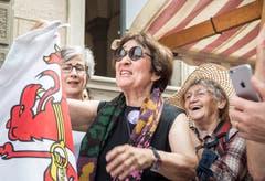 Frauenstreiktag vor dem Regierungsgebäude Frauenfeld. (Bild: Andrea Stalder)