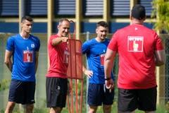 Lazar Cirkovic, Trainer Thomas Häberli, Stefan Knezevic und Konditionstrainer Christian Schmidt. (Bild: Martin Meienberger / Freshfocus, Luzern, 17. Juni 2019)
