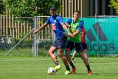 Lucas Alves (links) gegen Filip Ugrinic. (Bild: Martin Meienberger / Freshfocus, Luzern, 17. Juni 2019)