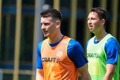 Stefan Knezevic und Remo Arnold (rechts). (Bild: Martin Meienberger / Freshfocus, Luzern, 17. Juni 2019)