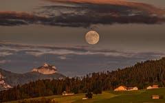 Der Mond über dem Hohen Kasten. Vom Rechberg Herisau aus fotografiert. (Bild: Luciano Pau)