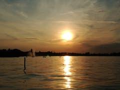 Sonnenuntergang bei der Badhütte in Rorschach. (Bild: Rahel Nett)