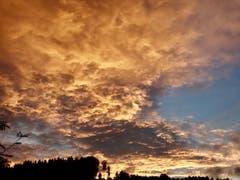 Nach dem Gewitter öffnet sich der Himmel und die letzten Sonnenstrahlen verwandeln den Himmel in ein Gemälde. (Bild: Dagmar Wemmer)