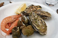 Die Lokale in Honfleur bieten fangfrische Meeresfrüchte an.