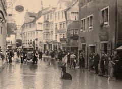 Die westliche Hauptstrasse 1926 mit Blick Richtung Jakobsbrunnen.
