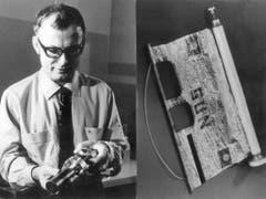 August 1969: Der Berner Physikprofessor Johann Geiss (Bild links) hält einen Vakuumzylinder in der Hand, in dem sich ein Sonnensegel (Bild rechts) befindet, das auf der Reise zum Mond mit an Bord war. Das Sonnensegel diente der Messung des Sonnenwindes (Bild: KEYSTONE/STR)