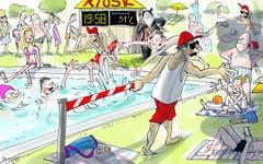 Um 20 Uhr ist Badeschluss!Die Freibäder in der Stadt St. Gallen schliessen spätestens um 20 Uhr. Dabei sind sie gerade an heissen Tagen wie jetzt auch um diese Zeit noch pumpenvoll. Das ärgert natürlich die Badegäste, zumal die Gemeinden in der Region zeigen, dass man eine Badi auch bis 21 Uhr geöffnet haben kann. (Bild: Corinne Bromundt - 29. Juni 2019)