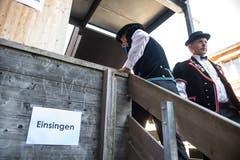 Der Jodlerklub Heimelig Baar beim Einsingen. (Bild: Dominik Wunderli, Horw, 29. Juni 2019)