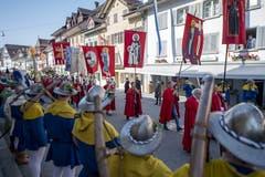 Der feierliche Einzug an die Gedenkfeier zur Schlacht von Sempach. (Bild: Urs Flüeler, Sempach, 30. Juni 2019)