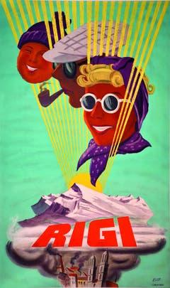 Hier mit einem Plakat für den «Zürchermarkt» aus der Zeit 1930-1940. Unten ist im Nebelgrau das Zürcher Münster erkennbar. (Bild: Albert Rüegg/ Druckerei unbekannt)