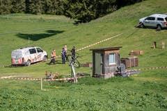 Abgesperrt: Die Unfallstelle wird derzeit von der Kantonspolizei untersucht. (Bild: Keystone/Urs Flüeler, 5. Juni 2019)