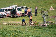 Inspektion der Unfallstelle. (Bild: Urs Flüeler/Keystone, Engelberg, 5. Juni 2019)