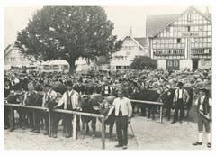 Viehschau auf dem Landsgemeindeplatz in Appenzell. Der Senn rechts aussen wurde schon in früheren Zeiten ins Bild hineinretouchiert. (Bild: Emil Manser, Appenzell/Landesarchiv AI)