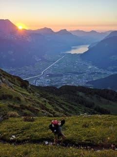 Abendwanderung zum Schwarzgrat mit Aussicht auf den Talboden und Urnersee. Als Dessert gabs noch einen wunderschönen Sonnenuntergang, welcher die Strapazen vergessen liess. (Bild: Jasmin Gnos, 29. Juni 2019)