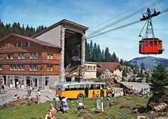 Die Talstation der Säntis-Schwebebahn auf der Schwägalp. (Bild: Rudolf Suter, Oberrieden/Landesarchiv AI)