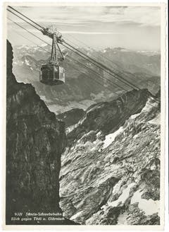 Blick auf die Säntis-Schwebebahn. (Bild: Foto Gross, St.Gallen/Landesarchiv AI)