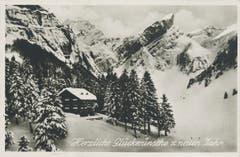 Das Berggasthaus Seealpsee im Winter. (Bild: Foto Gross, St.Gallen/Landesarchiv AI)