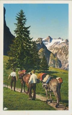 Säumer auf dem Weg zum Säntis. (Bild: Fritz Zwissler, St.Gallen/Landesarchiv AI)