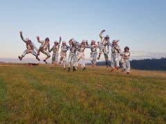 Die Astronauten Crew der Pfadi St. Rochus Büren-Oberdorf für die Expedition zum Mars. (Lagerbild: Eriswil, 10. Juli 2019)