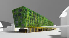 Die vertikalen Gärten sollen nicht nur das Gebäudeklima positiv beeinflussen, sondern auch die Umgebung. (Visualisierung: PD)