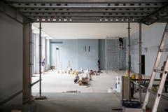 Arbeiten am Lukassaal. (Bild: Manuela Jans-Koch, Luzern, 11. Juli 2019)