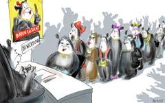 Bärin gesucht! Die Gleichberechtigung zwischen Männlein und Weiblein wird dank eines Parlamentsvorstosses der Linken erneut zum lokalen Politthema. Frauen sollen in Kader- und Führungspositionen jeweils zur Hälfte vertreten sein. Da geht auch der St.Galler Bär mit gutem Beispiel voran: Er sucht jetzt eine passende Kollegin. (Illustration: Corinne Bromundt - 6. Juli 2019)
