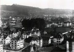 Das Buchwaldquartier zwischen St.Fiden und Heiligkreuz. Die vorderen Häuser stehen an der Heiligkreuzstrasse, rechts aus dem Bild hinaus führt die Kolosseumstrasse und im Hintergrund ist noch knapp die Kirche St.Fiden zu erkennen.