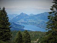 Was für eine herrliche Aussicht: Sarnersee und Stanserhorn, aufgenommen auf dem Weg von Glaubenbielen nach Giswil. (Bild: Margrith Imhof-Röthlin, 6. Juli 2019)