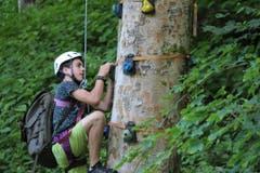 Klettertraining im «Base Camp» der Jungwacht Altishofen. Lagerbild: Jungwacht Altishofen (Lungern, 11. Juli 2019)