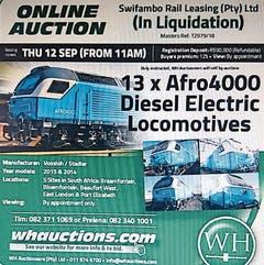 Ein Inserat bewirbt die bevorstehende Online-Versteigerung der 13 Lokomotiven von Vossloh und Stadler in Südafrika. (Bild: PD)