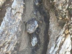 Diese beiden Felsblöcke drohen auf die Axenstrasse abzustürzen. Sie waren am Sonntag bei heftigen Regenfällen freigespült worden. (Bild: Bundesamt für Strassen Astra)