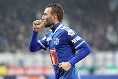 Christian Schneuwly bejubelt das 3:0 gegen den FC St. Gallen. (Bild: Philipp Schmidli, Luzern, 23. Oktober 2016)