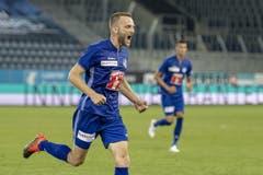 Christian Schneuwly jubelt für den FC Luzern. (Bild: Urs Flüeler / Keystone, Luzern, 25. Juli 2019)
