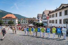 Willkommensgruss für die bundesrätlichen Gäste. (Bild: Christian H. Hildebrand, Stans, 5. Juli 2019)