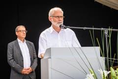 Der Stanser Gemeindepräsident Gregor Schwander spricht zu den Gästen. (Bild: Christian H. Hildebrand, Stans, 5. Juli 2019)