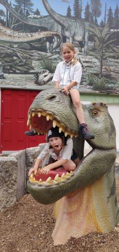 Kapitän Hinkebein schickte seine Crew ins Dinosariermuseum Aathal. Statt dem erwarten Gold und Juwelen war der Schatz jedoch ein Alosaurusskelett, welches natürlich im Museum gelassen werden musste. (Bild: Pfadi Baar, Wölfli, 8. Juli 2019)