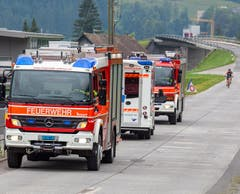 Feuerwehr und Rettungsdienst vor Ort. (Bild: Geri Holdener, Brunnen, 9. Juli 2019)