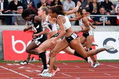 Ein Fotofinish zwischen Natalliah Whyte, Gina Lueckenkemper und Tynia Gaither beim 100-Meter-Final der Frauen. (Bild: Claudio Thoma/freshfocus, Luzern, 9. Juli 2019)