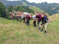 Neben Reitstunden gibt es auch Flugstunden mit den Bambusbesen auf dem Chanzelberg im Napfgebiet: «Die Högerlis laden uns freche Hexli dazu ein und bald heben wir ab, yuhee.» (Lagerbild: Reitferiencamp mit Maultieren, Willisau, 9. Juli 2019)
