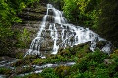 Diesen Wasserfall im Hüttentobel Richtung Seealpsee hoch gibt es nur nach starkem Regenfall und/oder bei Schmelzwasser. (Bild: Marc Bollhalder)