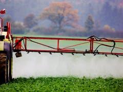Pestizide und Dünger aus der Landwirtschaft belasten das Grundwasser in der Schweiz. Abbauprodukte finden sich vor allem in Fassungen im Ackerbaugebiet des Mittellandes. (Bild: KEYSTONE/EPA/PATRICK PLEUL)