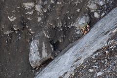 Es sind zwei Aufsichtsposten installiert worden, dass bei weiteren Steinschlägen der Helikopterpilot die Felsarbeiter rechtzeitig aus der Gefahrenzone fliegen kann. (Bild: Valentin Luthiger)