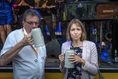 Stadträtin Sonja Lüthi und Festpräsident Bruno Bischof nach dem Fassanstich. (Bild: Michel Canonica - 16. August 2019)