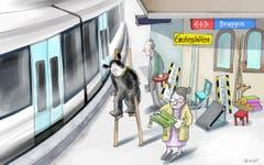 Bitte einsteigen. Die SBB schaffen es nicht, den Bahnhof Bruggen bis Ende 2023 und damit rechtzeitig behindertengerecht umzubauen. Deshalb wollen sie die Einstiegsmöglichkeiten mit «Ersatzmassnahmen» provisorisch verbessern. Wer dort in den Zug einsteigt, darf das vermutlich bis 2026 durchaus wörtlich verstehen. (Illustration: Corinne Bromundt - 17. August 2019)