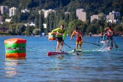 Es wurde allerdings nicht nur geschwommen: Auch Stand-Up-Paddler waren heute auf dem Vierwaldstättersee. (Bild: Philipp Schmidli, Luzern, 18. August 2019)